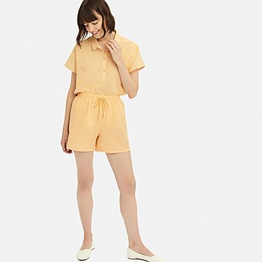 WOMEN COTTON LINEN SHORT-SLEEVE PAJAMAS, YELLOW, medium