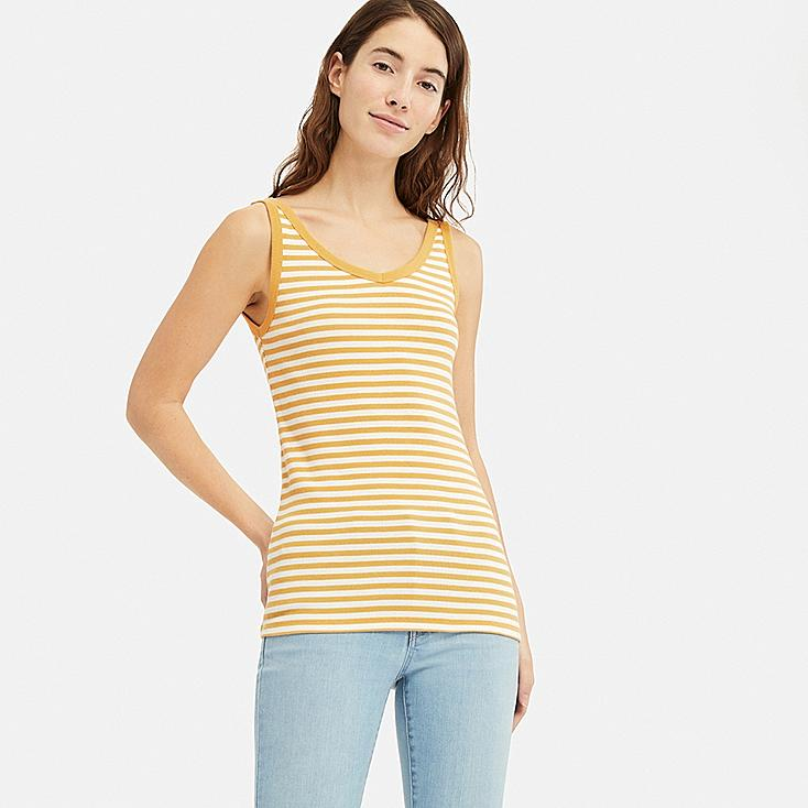 WOMEN COTTON BLENDED RIBBED V-NECK SLEEVELESS TOP, YELLOW, large