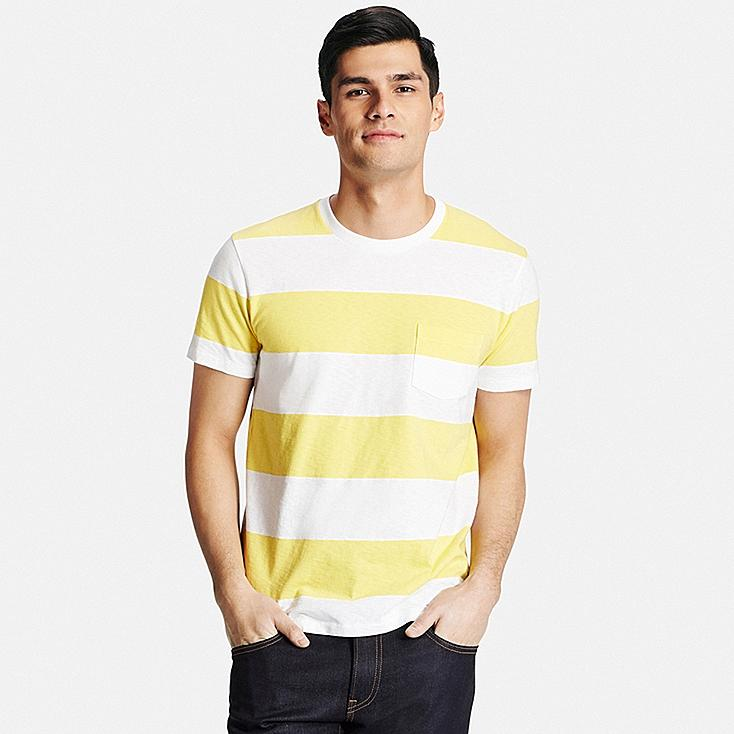 Men's Washed Striped T-Shirt, YELLOW, large