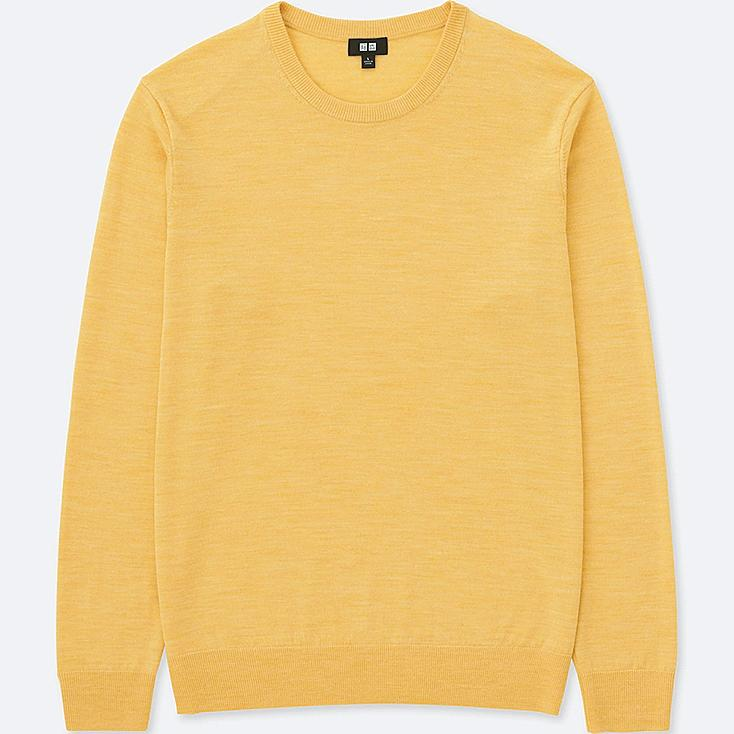 MEN EXTRA FINE MERINO CREW NECK LONG-SLEEVE SWEATER, YELLOW, large