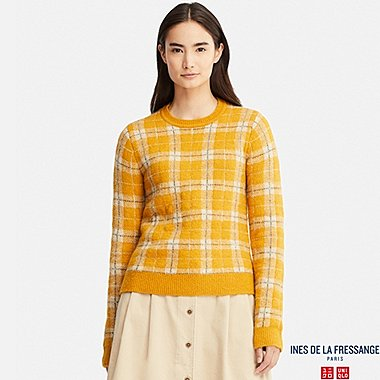 WOMEN JACQUARD SWEATER (INES DE LA FRESSANGE), YELLOW, medium