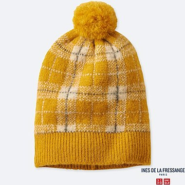 WOMEN JACQUARD KNITTED BEANIE (INES DE LA FRESSANGE), YELLOW, medium