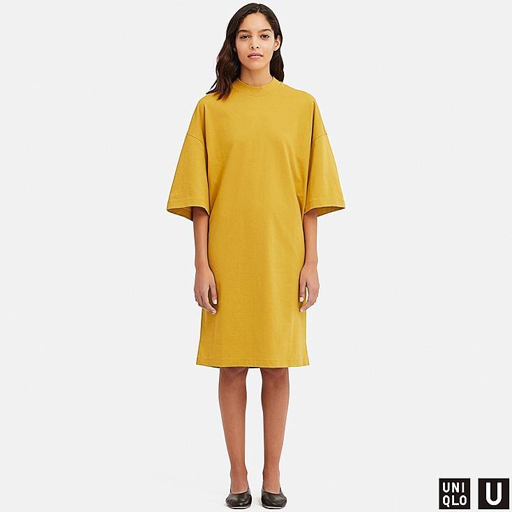 WOMEN U OVERSIZE HALF-SLEEVE T-SHIRT DRESS, YELLOW, large