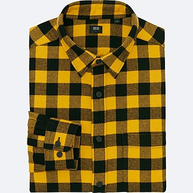 MEN FLANNEL BUFFALO CHECK LONG SLEEVE SHIRT, YELLOW, medium