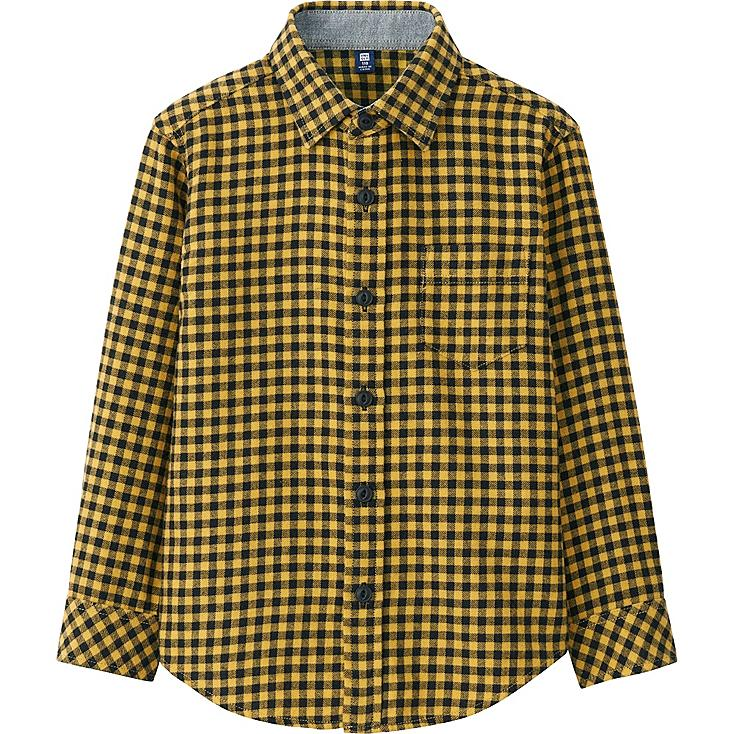 BOYS FLANNEL CHECK LONG SLEEVE SHIRT, YELLOW, large