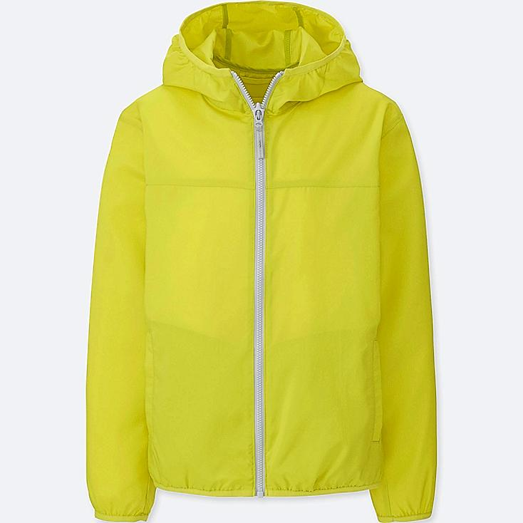 KIDS LIGHT POCKETABLE PARKA, YELLOW, large