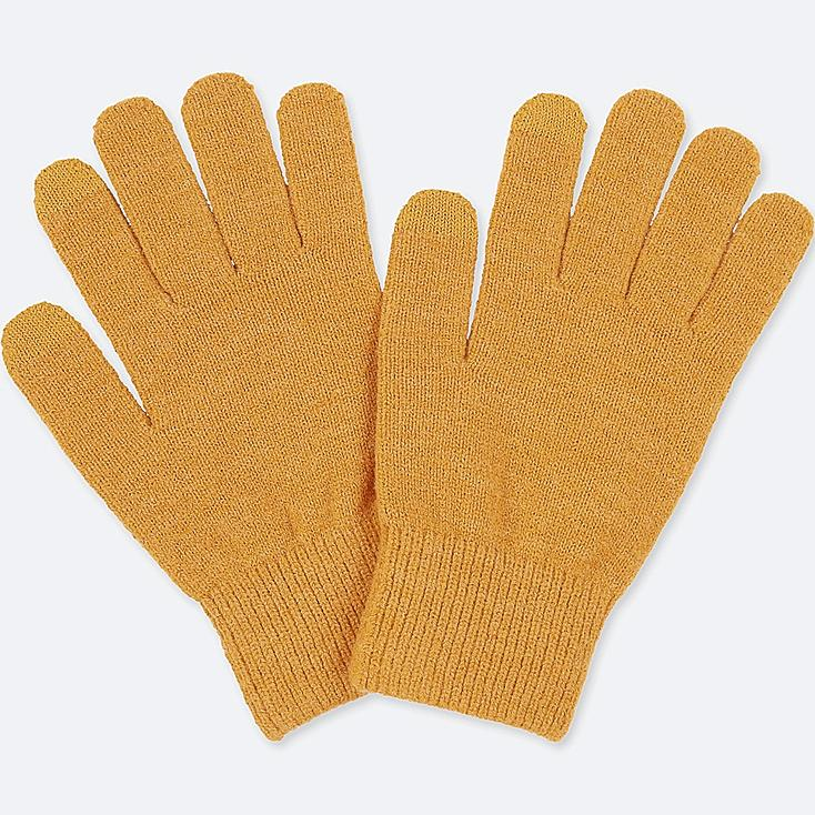 MEN HEATTECH KNITTED GLOVES, YELLOW, large
