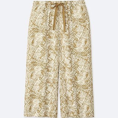 WOMEN RELACO 3/4 SHORTS (WIDE) (GEOMETRIC), YELLOW, medium
