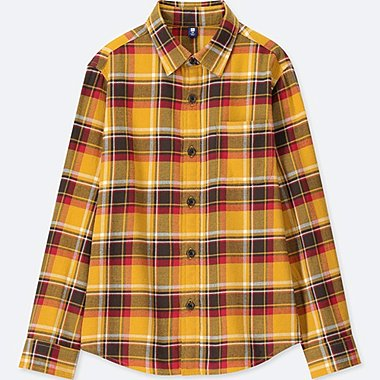 BOYS FLANNEL CHECKED LONG-SLEEVE SHIRT, YELLOW, medium