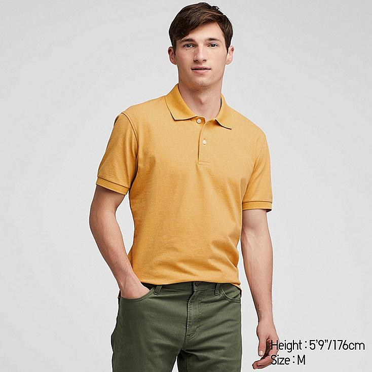 MEN DRY PIQUE SHORT-SLEEVE POLO SHIRT, YELLOW, large