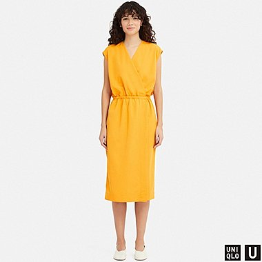 WOMEN U WRAP SLEEVELESS DRESS, YELLOW, medium