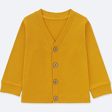 TODDLER COTTON LONG-SLEEVE CARDIGAN, YELLOW, medium