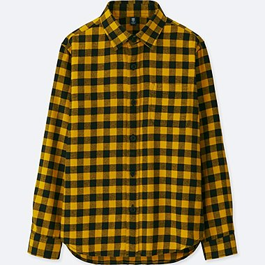 BOYS FLANNEL CHECK LONG-SLEEVE SHIRT, YELLOW, medium