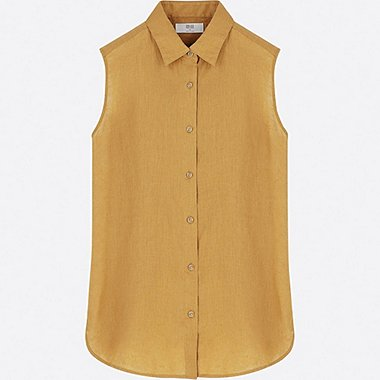 WOMEN PREMIUM LINEN SLEEVELESS SHIRT, YELLOW, medium