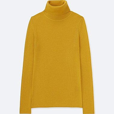 WOMEN EXTRA FINE MERINO RIBBED TURTLENECK SWEATER, YELLOW, medium
