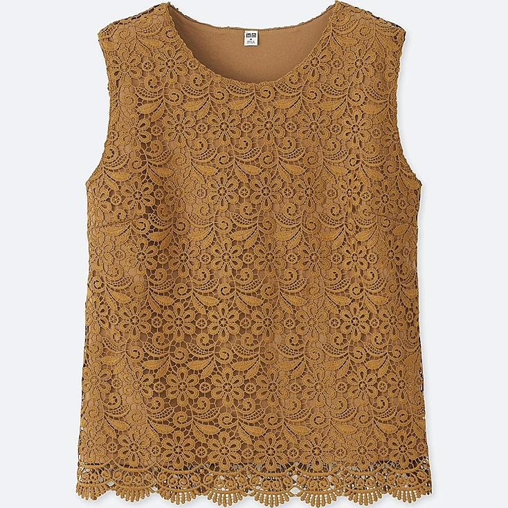 WOMEN LACE SLEEVELESS T-SHIRT (ONLINE EXCLUSIVE), YELLOW, large