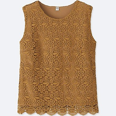 WOMEN LACE SLEEVELESS T-SHIRT (ONLINE EXCLUSIVE), YELLOW, medium