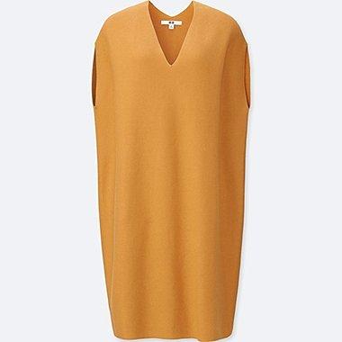 WOMEN 3D COTTON COCOON SLEEVELESS DRESS