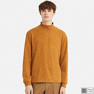 MEN U OVERSIZE MOCK NECK LONG-SLEEVE T-SHIRT, YELLOW, medium