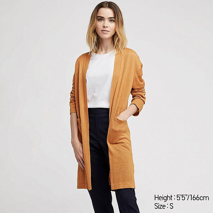 WOMEN LINEN BLENDED LONG-SLEEVE LONG CARDIGAN, YELLOW, large