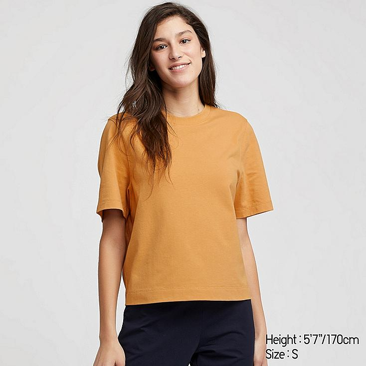 WOMEN CROPPED CREW NECK SHORT-SLEEVE T-SHIRT, YELLOW, large