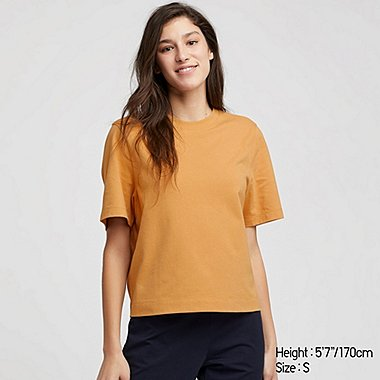 WOMEN CREW NECK CROPPED SHORT SLEEVED T-SHIRT