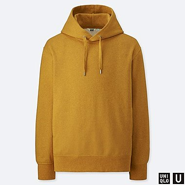 MEN U LONG-SLEEVE HOODED SWEATSHIRT, YELLOW, medium
