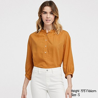 WOMEN LINEN BLEND STAND COLLAR 3/4 SLEEVED BLOUSE