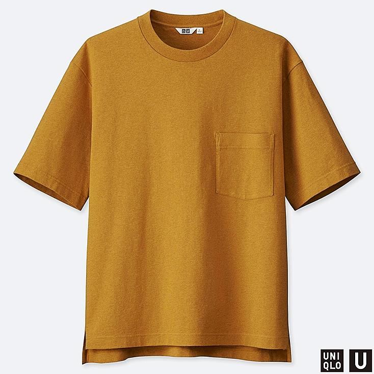 MEN U OVERSIZE CREW NECK SHORT-SLEEVE T-SHIRT, YELLOW, large