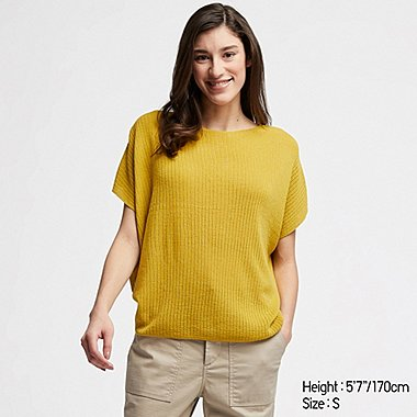 WOMEN LACY BOAT NECK SHORT-SLEEVE SWEATER, YELLOW, medium