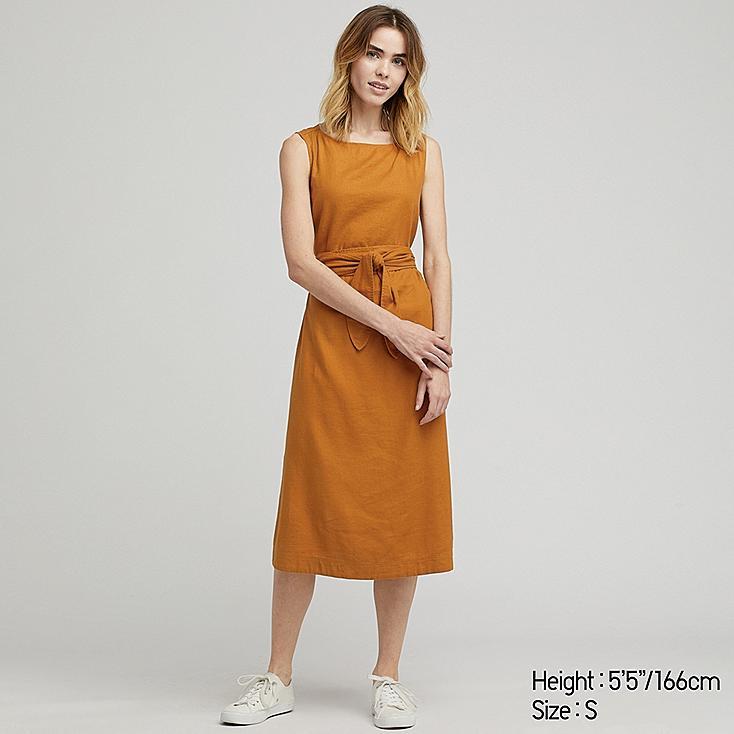 WOMEN LINEN BLEND A-LINE SLEEVELESS DRESS, YELLOW, large