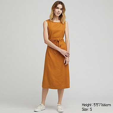 DAMEN KLEID AUS LEINEN-MIX IN A-LINIE