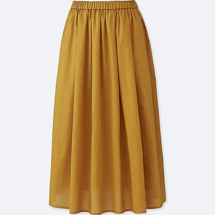 Women High Waist Cotton Lawn Volume Skirt, YELLOW, large