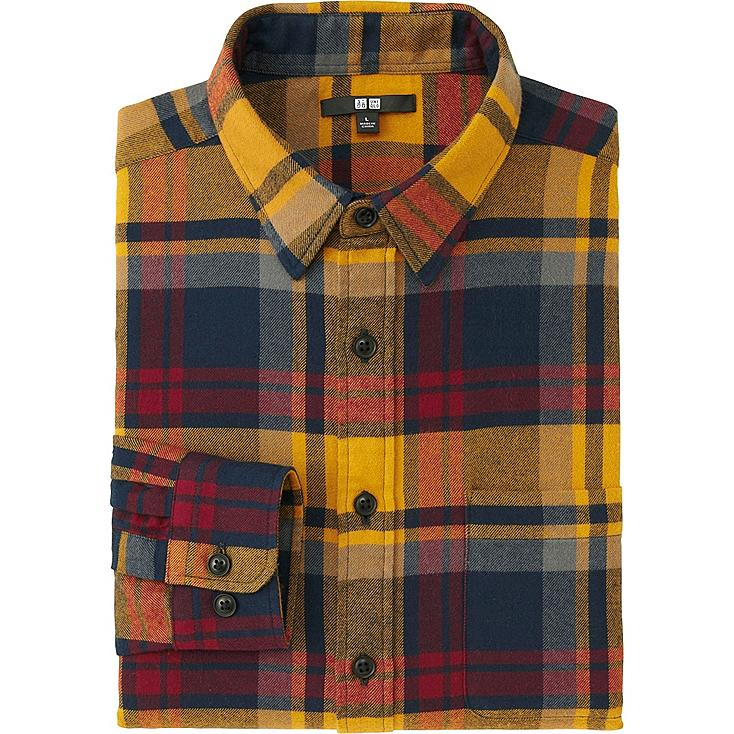 MEN FLANNEL CHECKED LONG SLEEVE SHIRT, YELLOW, large