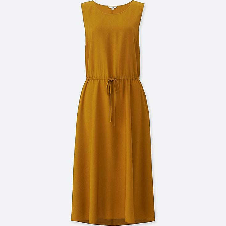 Women Rayon Sleeveless Long Dress, YELLOW, large