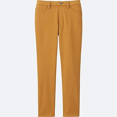 WOMEN CROPPED LEGGINGS PANTS, YELLOW, medium