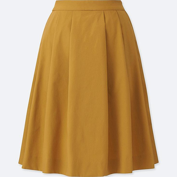 WOMEN DRY STRETCH TUCKED SKIRT, YELLOW, large