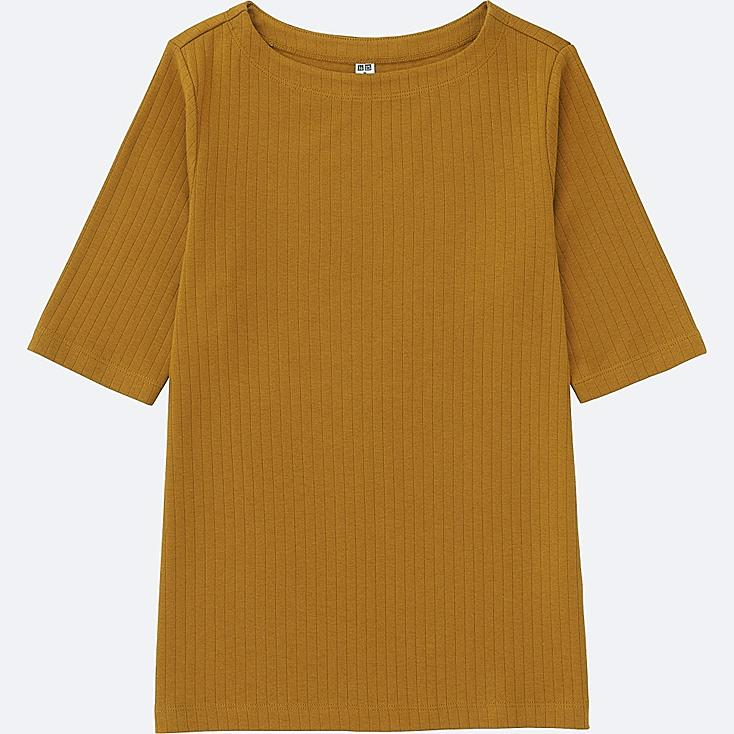 WOMEN RIBBED BOAT NECK HALF SLEEVE T-SHIRT, YELLOW, large