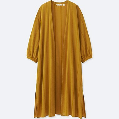 Women Cotton Dobby 3/4 Sleeve Long Shirt, YELLOW, medium