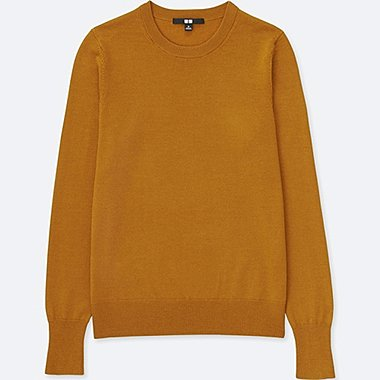 Women Extra Fine Merino Crew Neck Sweater, YELLOW, medium