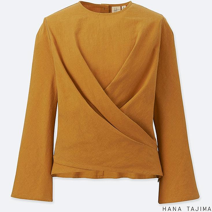WOMEN CACHE COEUR LONG-SLEEVE BLOUSE, YELLOW, large
