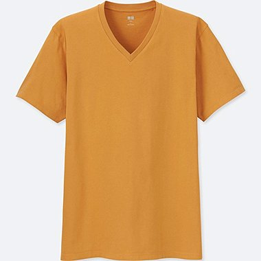 MEN SUPIMA® COTTON V NECK SHORT-SLEEVE T-SHIRT, YELLOW, medium
