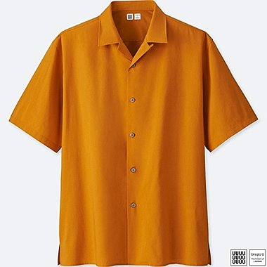 MEN U OPEN COLLAR SHORT-SLEEVE SHIRT, YELLOW, medium
