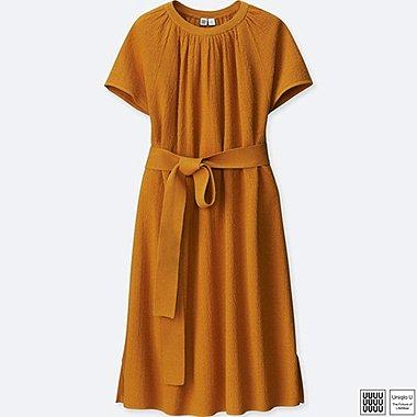 Damen U Leinen-Baumwoll-Mix Kleid (T-Form)