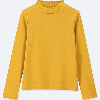 GIRLS RIBBED FRILL HIGH-NECK LONG-SLEEVE T-SHIRT, YELLOW, medium