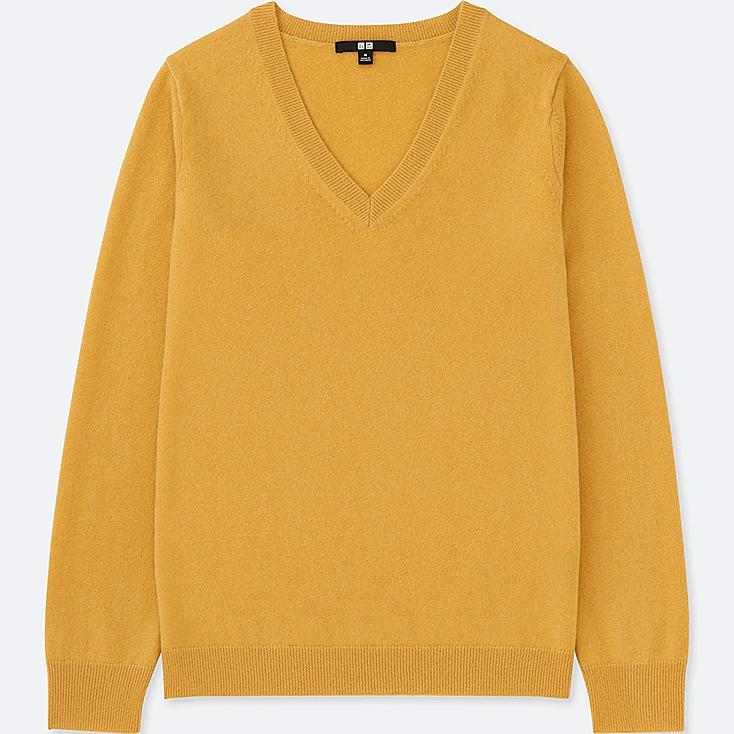 WOMEN CASHMERE V-NECK SWEATER, YELLOW, large