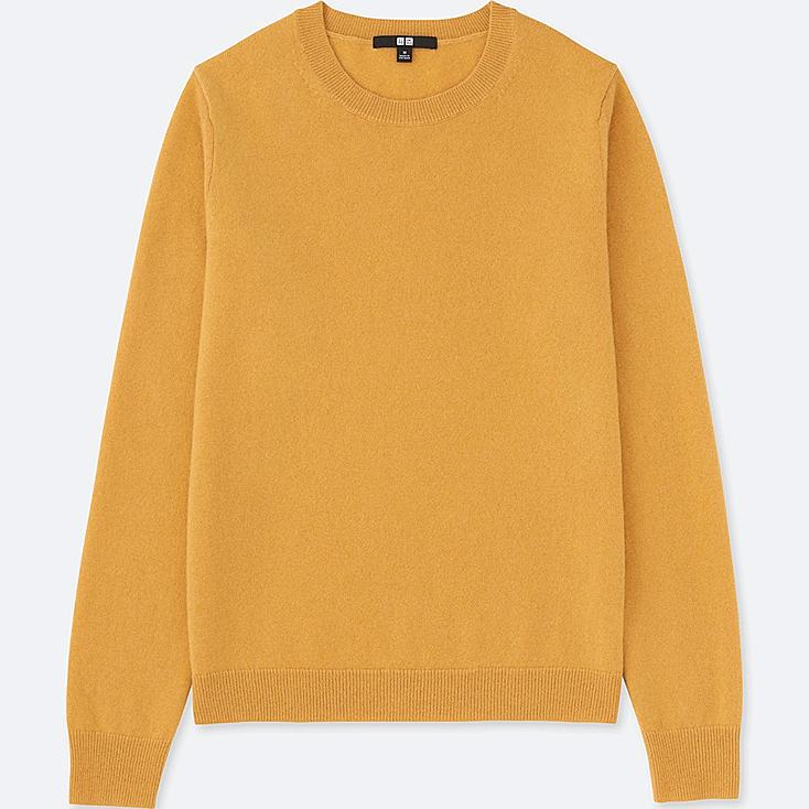 WOMEN CASHMERE CREW NECK SWEATER, YELLOW, large