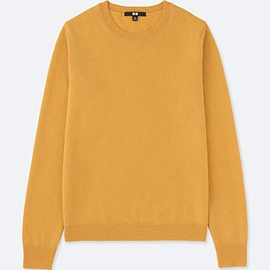WOMEN CASHMERE CREWNECK SWEATER, YELLOW, medium