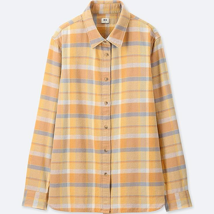 WOMEN FLANNEL CHECKED LONG-SLEEVE SHIRT, YELLOW, large