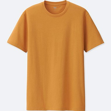 MEN SUPIMA® COTTON CREW NECK SHORT-SLEEVE T-SHIRT, YELLOW, medium